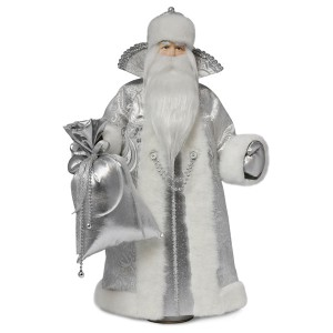 Конфетница Дед Мороз. Малый серебряный. Тубус