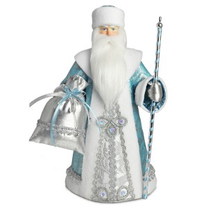 Конфетница Дед Мороз. Голубой. Конус