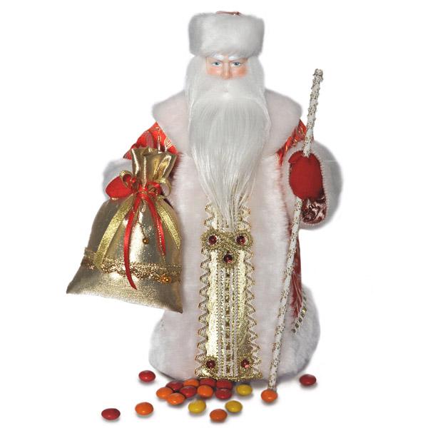 Конфетница Дед Мороз. Красный. Тубус