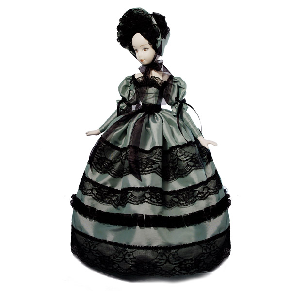 Кукла барышня с черным кружевом фисташковая. Тубус