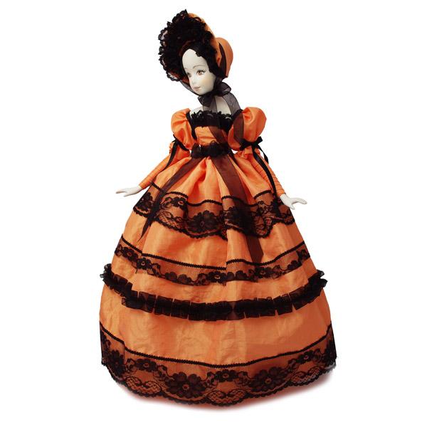 Кукла барышня с черным кружевом персиковая. Тубус