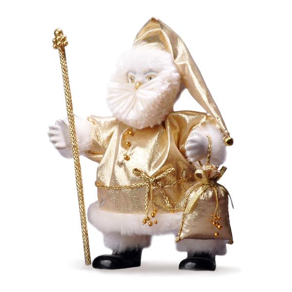 Кукла Дед Мороз корпоративный золотой, на ножках