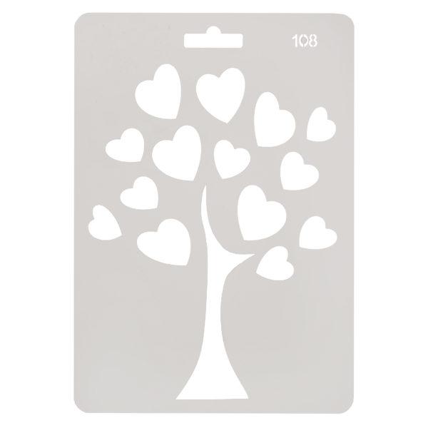 Трафарет №108 Дерево с сердечками 14х20 см 206709