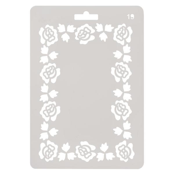 Трафарет №19 Рамка прямоугольная Розы 14х20 см 206729