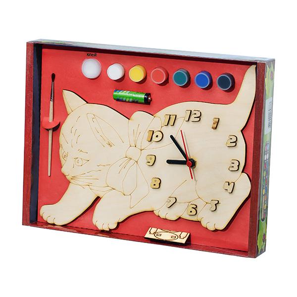 Арт. 209422 Часы под роспись Котик с бантом